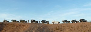 Nine Jeeps on the bluff of the Red Canyon jeep trail night run